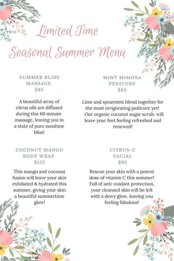 Summer Spa Specials 2017