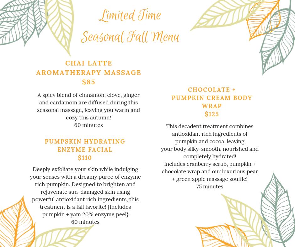 Fall 2018 Spa Specials